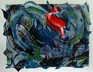 Donna Gallant: 'Surrounded movement', 2009 Monoprint, Abstract.    Mono print ontop of mono print.  Interesting and incaptulating. ...