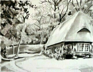 Donna Gallant: 'cottage', 2016 Charcoal Drawing, Landscape. A strong sense of fantasy is portrayed in this cute little country cottage. ...