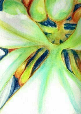 Donna Gallant: 'heartbeat', 2016 Watercolor, Floral. Artist Description: A close look at the inside of a flower is dynamic and very colorful especially when using watercolor pencils. ...