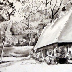 , Cottage, Landscape, $315
