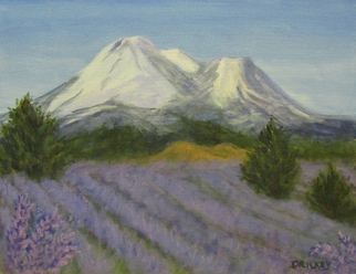Painting by Donna Drickey titled: SHASTA LAVENDER FIELDS, created in 2015