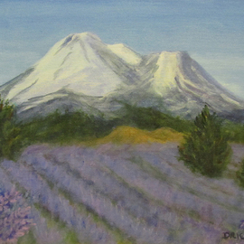 Donna Drickey Artwork SHASTA LAVENDER FIELDS, 2015 Acrylic Painting, Mountains
