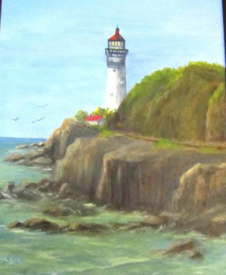 Donna Drickey: 'guiding light iii', 2014 Oil Painting, Seascape. Artist Description: Original oil reflects my love of the ocean and all that it encompasses: lighthouses, waves, rocks, etc. Green tones predominate the water with blues in the distant waters. ...