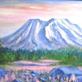 Donna Drickey Artwork mt saint helens rebirth, 2013 Oil Painting, Mountains