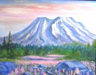 Donna Drickey: 'mt saint helens rebirth', 2013 Oil Painting, Mountains. Artist Description: Inspired by a photo taken in the spring years following the eruption of this mountain in Southern Washington state. It shows that wild flowers and new growth can reappear years after a tragic event. Life goes on ...