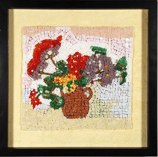 Jerry Reynolds: 'Geraniums', 2015 Mosaic, Floral.       Mosaics are all one of a kind hand made to order. Each mosaic is an authentic piece of art unique to itself. No two mosaics are ever alike.           ...