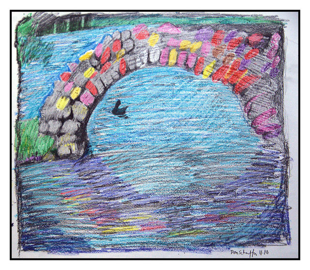 Don Schaeffer  'Little Bridge ', created in 2010, Original Watercolor.