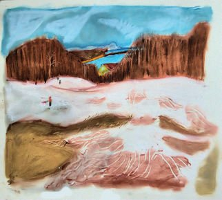 Don Schaeffer Artwork Thinning Snow on the Slope, 2010 Oil Pastel, Abstract Landscape