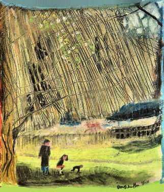 Don Schaeffer Artwork Under the Weeping Tree, 2011 Oil Pastel, Landscape