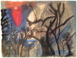 Don Schaeffer Artwork Winter Treetops, 2010 Oil Pastel, Abstract Landscape