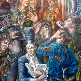 Alexander Donskoi: '21th century selfie', 2016 Oil Painting, Figurative. Artist Description: I cannot really say that this is a dialog between two centuries, more of a conflict between two eras and its representatives.Despite the fact that people do not change  well, maybe just the entourage and technology  it is still a conflict. It is the ordinary person and ...