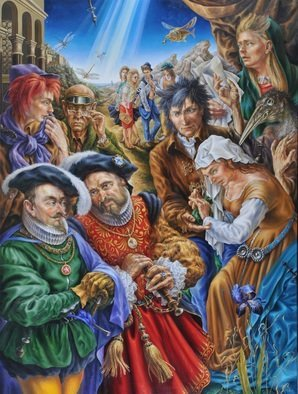 Alexander Donskoi: 'artist and merchants', 2015 Oil Painting, Figurative. Artist Description: