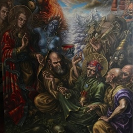 Alexander Donskoi: 'padmasambhava s initiation', 2018 Oil Painting, Mystical. Artist Description: Original painting , oil on canvas 72x 62 ...