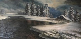 Alexander Donskoi: 'the night before christmas', 2018 Oil Painting, Fantasy. Artist Description: Original painting oil on canvas 24x 48...