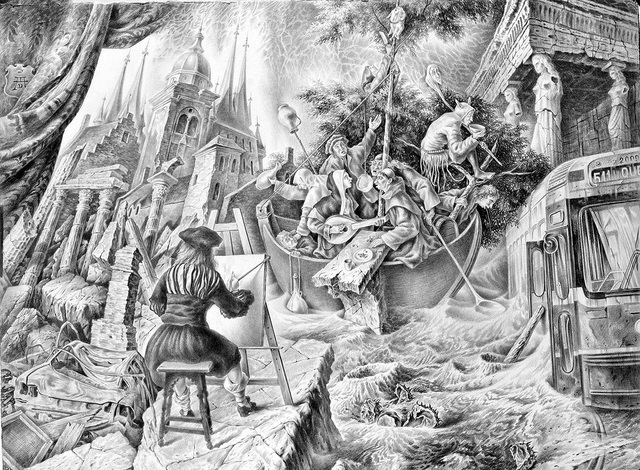 Alexander Donskoi  'The Ship Of Fools', created in 2014, Original Drawing Pencil.