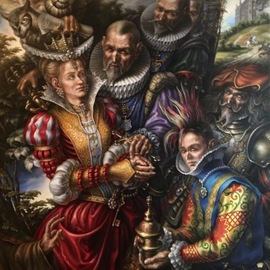 Alexander Donskoi: 'the touch of eternity', 2017 Oil Painting, Surrealism. Artist Description: ORIGINAL PAINTING OIL ON CANVAS 168CM X 117CM ...