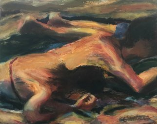Bob Dornberg: 'beach sleep', 2020 Oil Painting, Abstract Figurative. KIDS ASLEEP ON SAND...