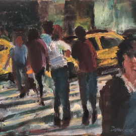Bob Dornberg: 'cross walk', 2020 Oil Painting, Abstract Figurative. Artist Description: Crosswalk in NYC...