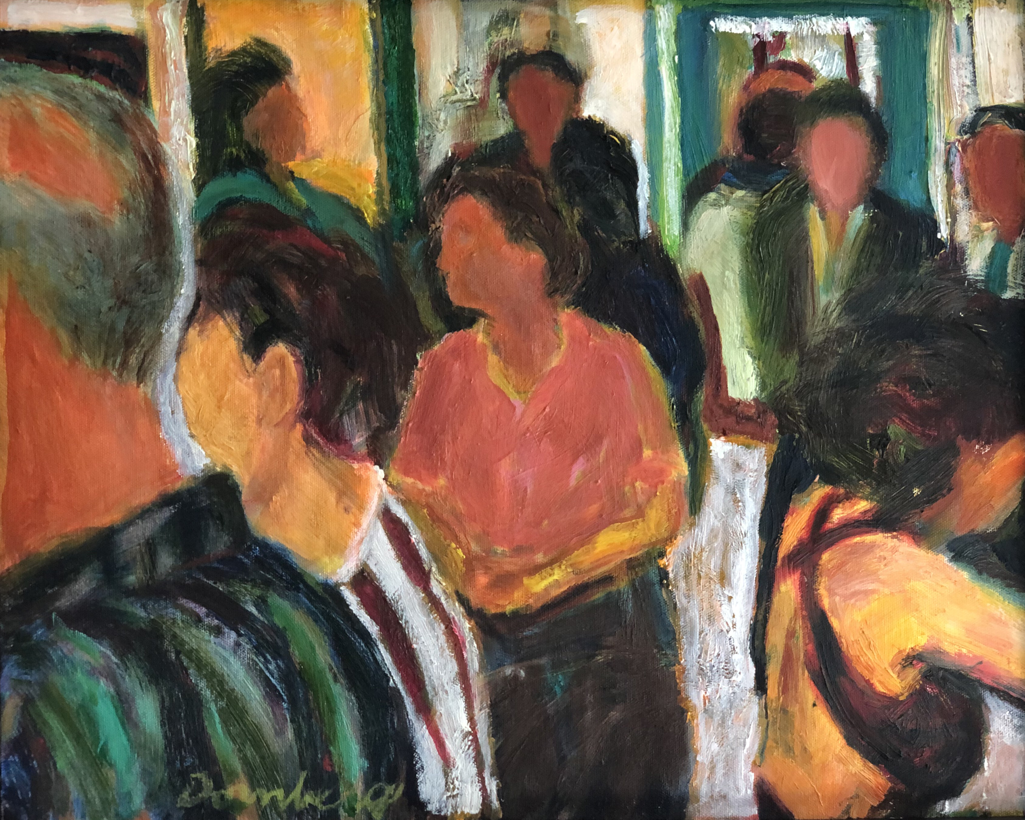 Bob Dornberg: 'gallery crowd', 2019 Oil Painting, Abstract Figurative. People admiring the artwork...