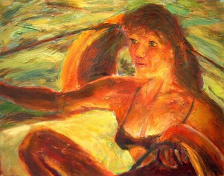 Artist: Bob Dornberg - Title: girl sailing - Medium: Oil Painting - Year: 2005