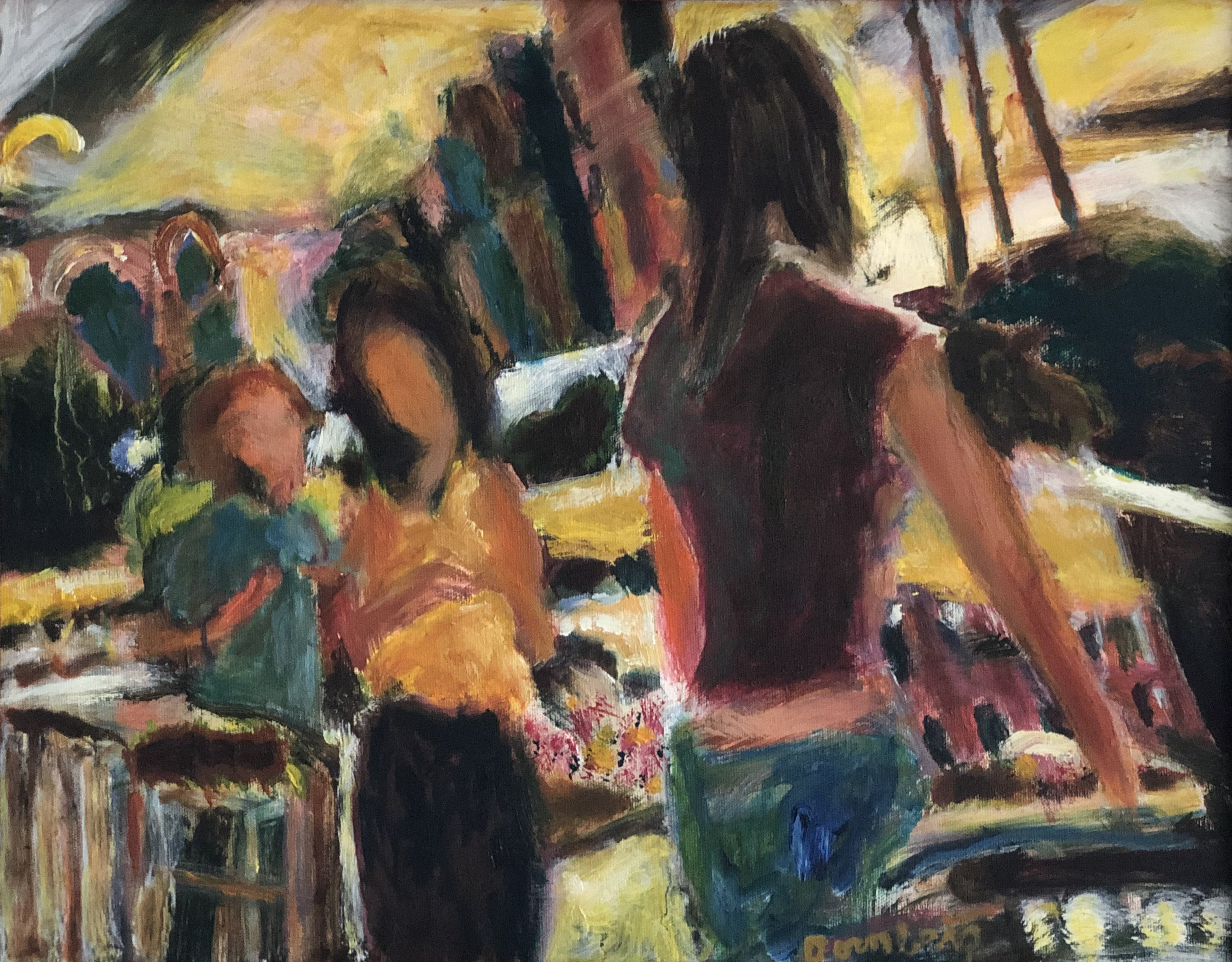 Bob Dornberg: 'market ladies', 2019 Oil Painting, Abstract Figurative. Ladies at market discussing foods...