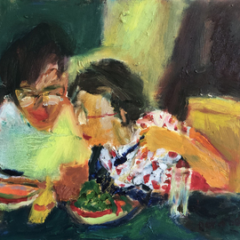 Bob Dornberg: 'my soup', 2020 Oil Painting, Abstract Figurative. Artist Description: INTEREST IN SOUP...