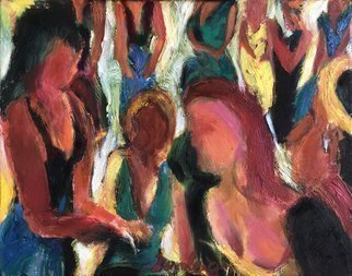 Bob Dornberg: 'party girls', 2019 Oil Painting, Abstract Figurative. Girls at a party...