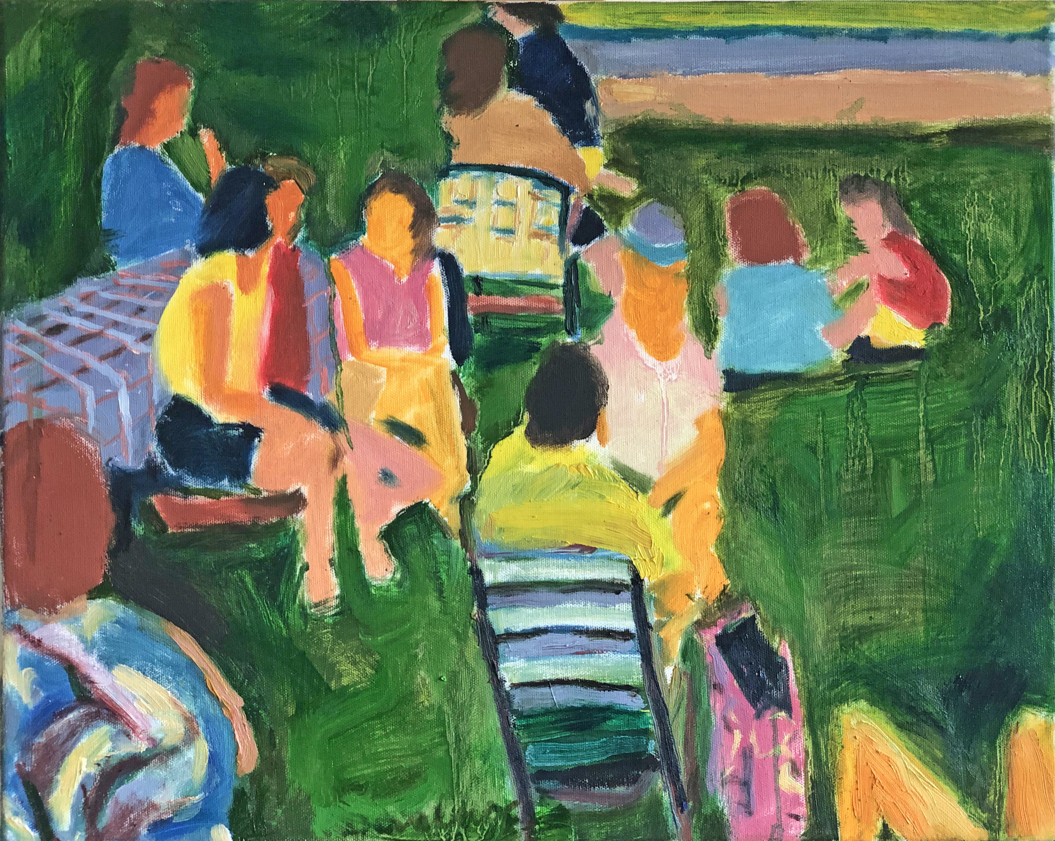 Bob Dornberg: 'picnic', 2019 Oil Painting, Abstract Figurative. People enjoy picnic...