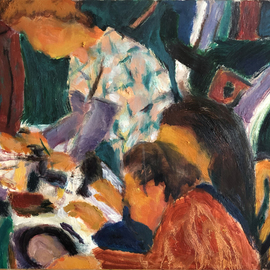 Bob Dornberg: 'rib dinner', 2019 Oil Painting, Abstract Figurative. Artist Description: SERVING TO PARTY...