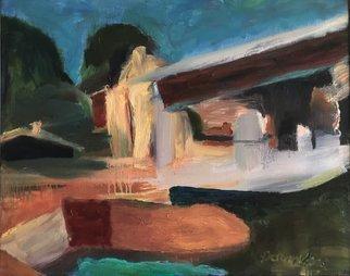 Bob Dornberg: 'rural home', 2020 Oil Painting, Abstract. Sunlit Home...