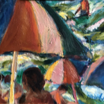 umbrellas and surf By Bob Dornberg