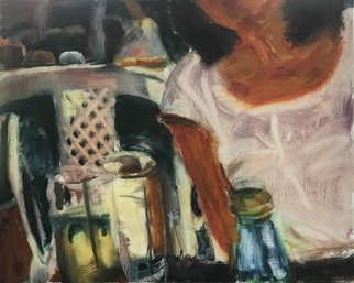 Bob Dornberg: 'white blouse', 2020 Oil Painting, Abstract Figurative. girl in white blouse at table...