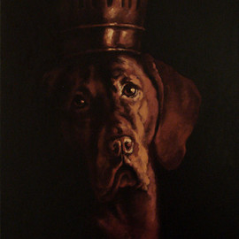 Doru Cristian Deliu Artwork The King, 2016 Oil Painting, Dogs