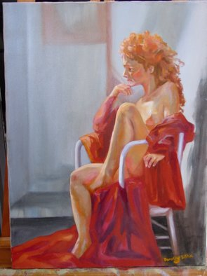 Dorothy Sitka: 'Girl In Red', 2008 Oil Painting, Figurative.  Model posed for me in the Studio ...