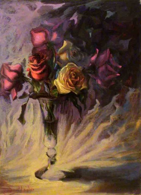Hatem Dowa  'Egyptian Roses', created in 2010, Original Pastel.
