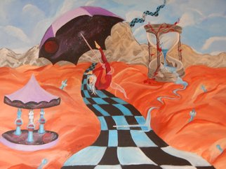 Michelle Morine: 'drifting through time', 2010 Acrylic Painting, Surrealism. Artist Description: umbrella, hourglass, space, unusual...