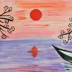 , Beautiful Evening, Abstract Landscape, $210
