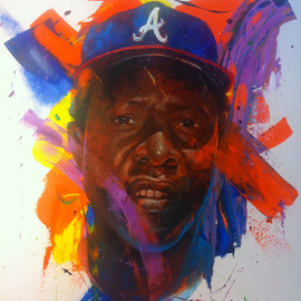Andre Harris Artwork HANK AARON, 2013 Acrylic Painting, Sports