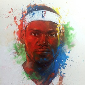 Andre Harris Artwork LEBRON JAMES, 2013 Acrylic Painting, Sports