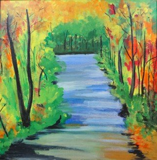 Dr Vijay Prakash Artwork Serene Forest View, 2016 Acrylic Painting, Nature