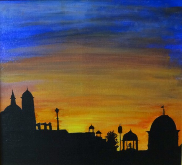 Dr Vijay Prakash  'Sunset At India Gate', created in 2016, Original Painting Acrylic.