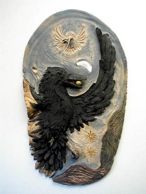 Depree Shadowwalker: 'Ravens Gift', 1999 Ceramic Sculpture, Ethnic. Artist Description: Raven and Humming Bird dance in the dawn our solar system' s planets alignment that happened in the last decade.Raven' s gift to the world is the sun. Raven reminds us that in blackness everything is the same, only when we create and bring forth our gifts ...