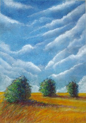 Darrell Ross: '3 sisters', 2018 Pastel Drawing, Landscape. Artist Description: 3 trees representing my sisters. ...