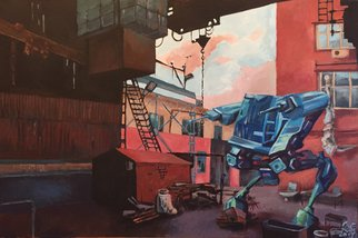 Vladimir Dudkin: 'industrial romantic', 2017 Acrylic Painting, Urban. Artist Description: I was inspired by cyberpunk and industrial urban landscapes...