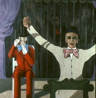 Lou Posner: 'A Hunger Artist', 1983 Oil Painting, Theater. Artist Description:  This is the artist's response to an early 1980' s Yale Summer Repertory performance in New Haven, Connecticut, of Franz Kafka' s