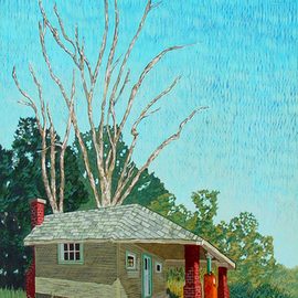 Lou Posner: 'Abandoned II', 1995 Oil Painting, Americana. Artist Description: This is the companion piece to Shady Curve. Please see that painting for a description of its genesis. The original drawings for both these paintings are in private collections....