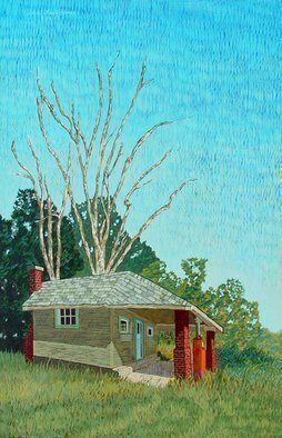 Lou Posner: 'Abandoned II', 1995 Oil Painting, Americana. This is the companion piece to Shady Curve.  Please see that painting for a description of its genesis.  The original drawings for both these paintings are in private collections. ...