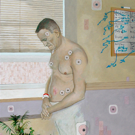 Lou Posner: 'Am I Dead Yet', 2013 Oil Painting, Psychology. Artist Description:  Even a healthy person will develop