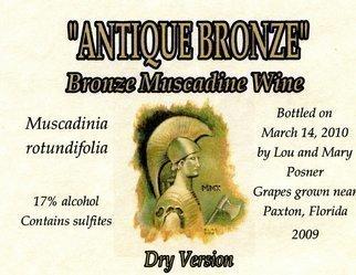 Lou Posner Artwork Antique Bronze muscadine wine dry version label, 2010 Other Printmaking, Vintage