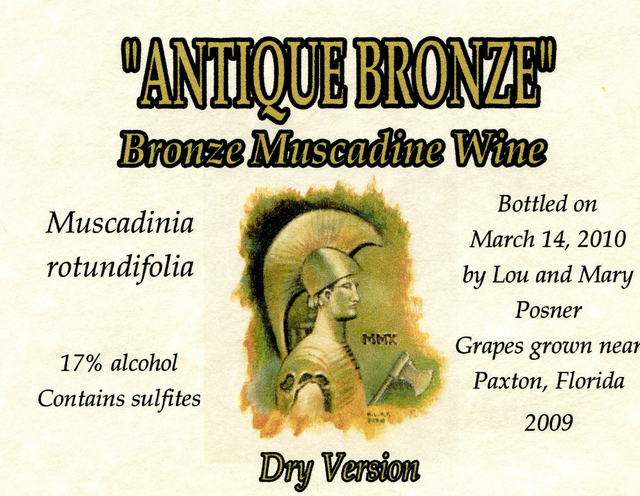 Lou Posner  'Antique Bronze Muscadine Wine Dry Version Label', created in 2010, Original Other.